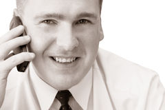移动电话人微笑 免版税库存照片