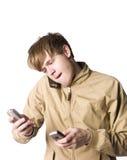移动电话供以人员三 免版税库存图片