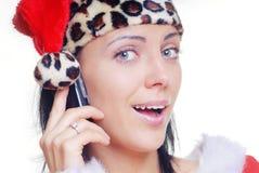 移动电话圣诞老人 免版税库存图片