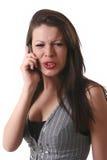 移动电话女孩联系 免版税库存照片