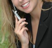 移动电话妇女 免版税图库摄影