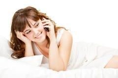 移动电话快乐的联系的妇女 图库摄影