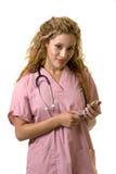 移动电话护士 库存图片