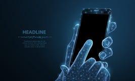 移动电话 抽象多角形有空白的空的黑屏幕的wireframe特写镜头手机在握人手和 免版税库存照片