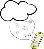 移动的云彩计算和,片剂 图库摄影