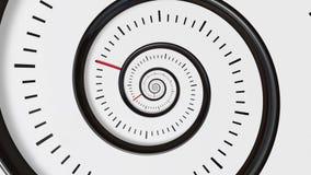 移动的时间螺旋 螺旋时钟无缝的无限徒升行动背景 时间摘要 无限时钟 向量例证
