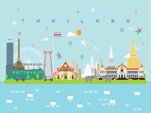 移动的最小的样式和象的,符号集传染媒介例证Thailan著名地标Infographic模板可以是用途为 免版税库存图片