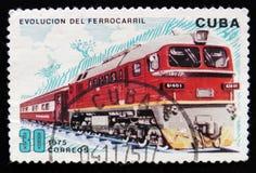 移动的火车和铁路运输的虔诚演变,大约1975年 库存照片