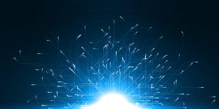 移动的particules技术摘要与能量的落后 库存照片