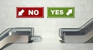 移动自动扶梯台阶,权利错误的符号 免版税库存照片
