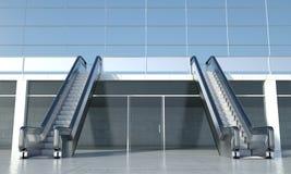 移动自动扶梯和现代办公楼 库存照片