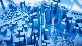 移动蓝色城市大厦使成环的照相机的抽象动画 向量例证