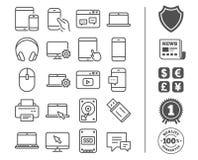 移动设备线象 膝上型计算机、SSD和硬盘驱动器 库存例证