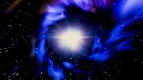移动通过抽象蠕虫孔、时间和空间、云彩和数百万星 o 美丽的蓝色星系隧道 库存例证