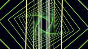 移动通过霓虹平直的隧道流动由简单的方形的绿色门和弯曲的狭窄的黄线做成在黑色 向量例证