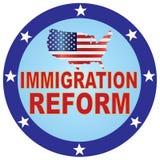 移民改革美国地图按钮传染媒介例证 免版税库存照片