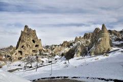 稀奇的石灰石在卡帕多细亚 图库摄影