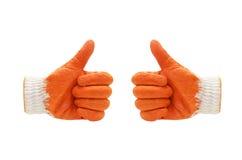 稀薄的工作手套显示五个手指 笤帚查出的白色 库存照片