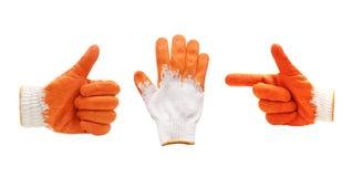 稀薄的工作手套显示五个手指 笤帚查出的白色 库存图片