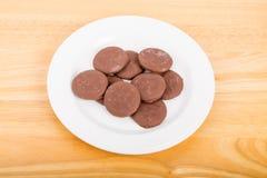 稀薄的巧克力曲奇饼白色板材  库存照片