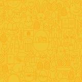 稀薄的愉快的复活节线无缝的黄色样式 库存图片