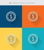 稀薄的稀薄的线象设置了财务&资助和投资,现代简单的样式 库存例证