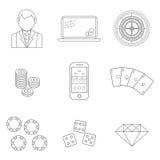 稀薄的线啤牌或赌博娱乐场象设置-导航赌博的标志 免版税库存照片