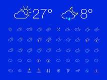 稀薄的线天夜天气象集合 免版税库存图片