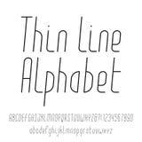 稀薄的线字母表 现代概述字体 向量例证