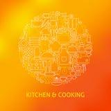 稀薄的线炊事用具和被设置的厨具象 库存图片