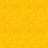 稀薄的线犹太假日愉快的光明节无缝的黄色样式 免版税库存图片