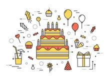 稀薄的线生日快乐党现代例证概念 Infographic从糖果的指南方式到蛋糕 图标 免版税库存照片