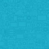 稀薄的线蓝色电子小配件无缝的样式 免版税库存图片
