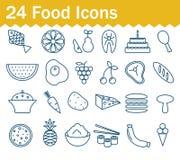 稀薄的线被设置的食物象 概述象汇集 向量例证