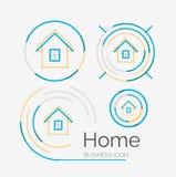 稀薄的线整洁的设计商标集合,家庭想法 免版税库存图片