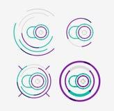 稀薄的线整洁的设计商标集合,照相机概念 库存照片