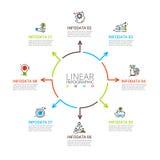 稀薄的线infographic的平的元素 免版税库存照片