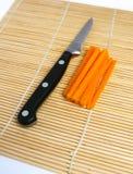 稀薄被切的警棒红萝卜 库存照片
