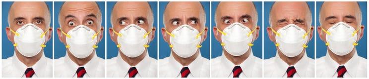 程序化戴着一个防毒面具的一个人的照片 免版税库存照片