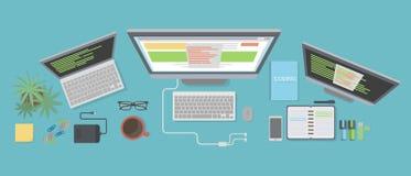 程序员书桌大模型 库存例证
