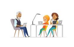 程序员家庭  愉快的一起编码女孩和的父母 自由职业者的家庭观念 与孩子概念的编制程序 库存例证