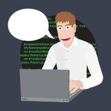 程序员或开发商有膝上型计算机的 编程的软件或网在计算机 传染媒介平的动画片例证 免版税图库摄影