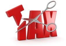税和剪刀(包括的裁减路线) 免版税库存图片