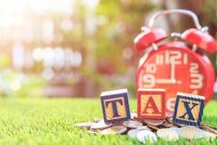 税在颜色字母表木箱子写在堆泰铢硬币 免版税图库摄影