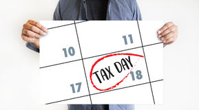 税时间文件王牌税收计划金钱财务会计T 免版税库存图片