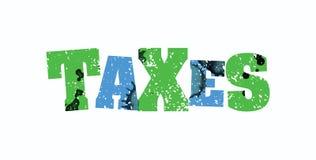 税概念五颜六色的被盖印的词例证 图库摄影