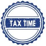 税计时打印机 贴纸 密封 蓝色圆的难看的东西葡萄酒丝带标志 免版税图库摄影
