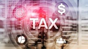 税Digarams,事务和财政概念在被弄脏的背景 图库摄影