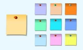 稠粘的笔记一个彩色组的例证  库存照片