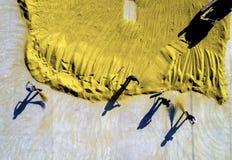 稻收获空中照片在农村中国 库存图片